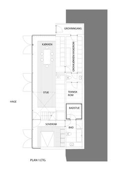 LY Arkitekter, Norway. House. Lower ground floor plan.