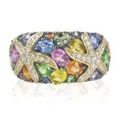 Jellewery - Ring - Effy Jewelers Effy Multi Sapphire & Diamond Ring in 14K Yellow Gold