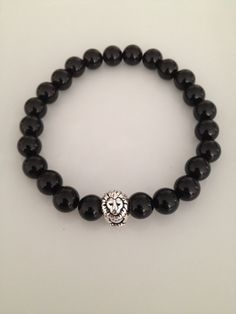 Black Onyx Lion Bead Bracelet by TheArtsyNomad on Etsy, $20.00