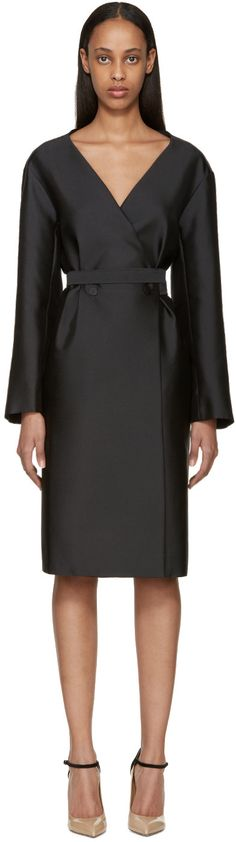 Nina Ricci - Black Double-Breasted Mikado Dress