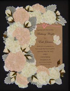 The Pressed Garden ~ Floral Preservation ~ Pressed Flower Art ~ Bridal Bouquet Preserved Around The Wedding Invitation! www.pressedgarden.com