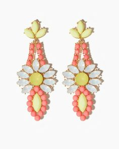 """Marquise To The City"" Coral Pink & Yellow Daisy Earrings, $13 via CharmingCharlie.Com"