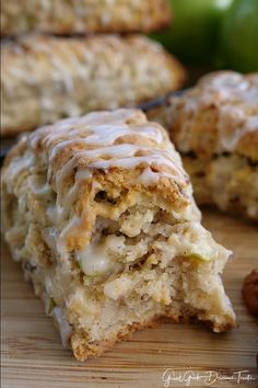 Apple Pecan Scones are delicious and full of apple and pecan bits. A delicious fall recipe. Baked Apple Dessert, Apple Dessert Recipes, Delicious Desserts, Breakfast Recipes, Yummy Food, Scone Recipes, Breakfast Scones, Apple Recipes Easy, Fall Recipes