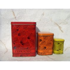 Vintage Soviet Red Orange Yellow Tin Boxes for Kitchen Decor Made in... (€21) via Polyvore featuring home, home decor, yellow home accessories and yellow home decor