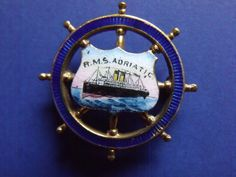 *RARE*! WHITE STAR LINE RMS ADRIATIC SHIPS WHEEL PIN, Handpainted, C.1910