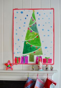 Christmas Tree watercolor painting by kids - we're doing this next year!