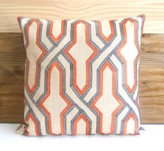 Orange and gray embroidered geometric trellis by pillowflightpdx, $43.00
