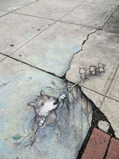 Chalk_and_Charcoal_Art_by_David_Zinn_in_the_Streets_of _Ann_.- Chalk_and_Charcoal_Art_by_David_Zinn_in_the_Streets_of Chalk_and_Charcoal_Art_by_David_Zinn_in_the_Streets_of - 3d Street Art, Amazing Street Art, Street Art Graffiti, Street Artists, Amazing Art, Urban Graffiti, Awesome, David Zinn, Illusion Kunst