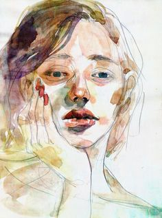 watercolour colour blocking - look at Cherry Hood - yr Watercolor Art Lessons, Watercolor Projects, Watercolor Portraits, Watercolor Paintings, Portrait Paintings, Painting Lessons, Watercolour, High School Art Projects, Teen Art