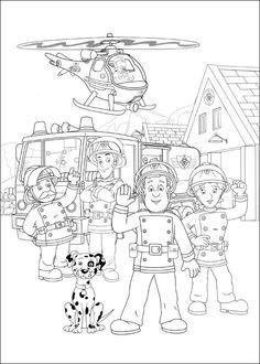 Brandweerman Sam Kleurplaten voor kinderen. Kleurplaat en afdrukken tekenen nº 24