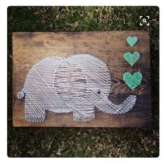 Items similar to elephant string art - wall hanging - nursery decor on etsy - Creative, cute, completely handmade elephant decoration. Cute unique wall hanging for a baby nurser - Cute Crafts, Crafts To Do, Arts And Crafts, String Art Diy, Arte Linear, Art Mur, String Art Patterns, Ideias Diy, Hanging Wall Art