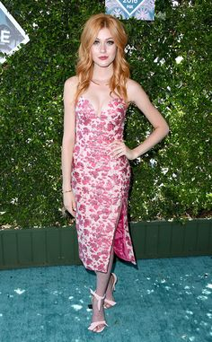 Katherine McNamara from Teen Choice Awards 2016 Red Carpet Arrivals  Pretty in pink! The Shadowhunters star looks beautiful in her Christian Siriano dress.