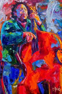 """Daily Painters Abstract Gallery: Original Jazz Art Music Abstract Painting """"Mingus"""" by Debra Hurd"""