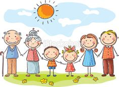 Illustration of Happy family with two children and grandparents vector art, clipart and stock vectors. Family Drawing, Drawing For Kids, Art For Kids, Family Clipart, Family Vector, Big Family, Happy Family, Cartoon Drawings, Easy Drawings