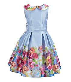 Little Angels by Us Angels 2T6X FloralBorderHem Satin Dress #Dillards