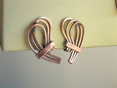 Vintage Renoir copper Earrings 1956 Rythm by popgoesmyvintage