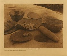 volume 14  facing: page  170 Yokuts kitchen utensils and milling-stone