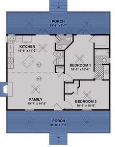 Mountain Plan: 953 Square Feet, 2 Bedrooms, 1.5 Bathrooms - 036-00006