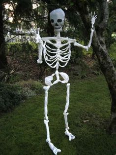Halloween skeleton made of plastic shopping bags.