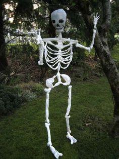 Halloween skeleton made of plastic shopping bags.