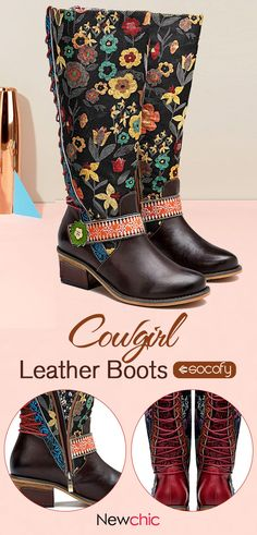 dd93cf201 SOCOFY Cowgirl Floral Pattern Genuine Leather Splicing Comfortable Knee  Flat Boots. cowgirl socofyboots