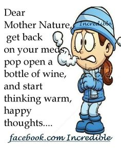 Dear Mother Nature, I Would Find You And Slap You But Iu0027m Afraid · Funny  PicsFunny QuotesFunny ...