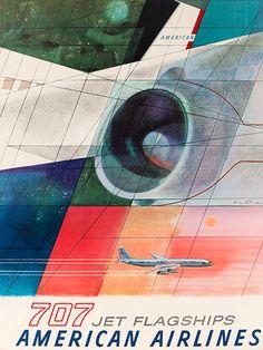Retro-poster  American Airlines 707 - 1960  Designer: Herb Danska