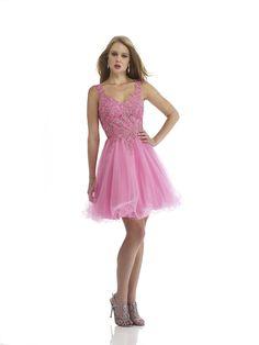 V Neck Short Pink Organza A Line Homecoming Dress