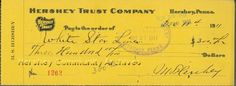 On this date, after vacationing in Europe, Milton Hershey was supposed to be a passenger on the ill-fated Titanic. Three days earlier, there were issues at the Hershey Chocolate Factory that needed his attention, so thankfully, he cut his trip short and sailed home on another vessel, Amerika. Check out Milton Hershey's cancelled deposit check to the White Star Lines for his reservation on the Titanic.