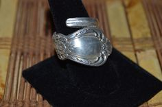 Hand Hammered / Made Wide Silver Spoon Floral Ring Size 8.5 - 9 HHMW2 #Handmade #vintagespoonring
