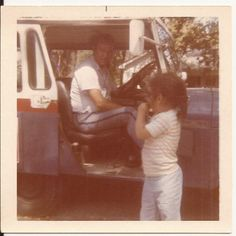 Mail Call, Vintage Color Photograph, Snapshot, Little Girl, Mailman, Mail Truck, USPS Delivery, Postal Service Employee by BettywasaBombshell on Etsy
