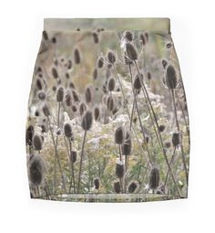 Wild Teasel ~ PENCIL SKIRT w/EXCLUSIVE NATURE DESIGN ~ Stylish Chic Original #ExclusiveCustomDesignCustomMade #StraightPencil