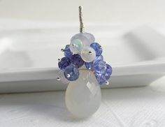 White Chalcedony and Blue Tanzanite pendant  Welo by TraminaDesign, $145.00