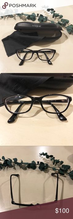 Vogue Cat Eyeglass Frames 👓 BRAND: Vogue MODEL: VO2748 COLOR: W44 Black MATERIAL: Plastic GENDER: Women STYLE: Cat Eye SIZE: 50-17-135  Vogue VO2748 is a Plastic Full Rim frame for Women. This Medium size frame features a Cat Eye shape. These Vogue eyeglass come with a Vogue case and cloth.    **Please note - there are prescription lenses in these frames.  If you are interested I can try to look up the prescription. Otherwise, you can replace with your own prescription.  Like new - worn…