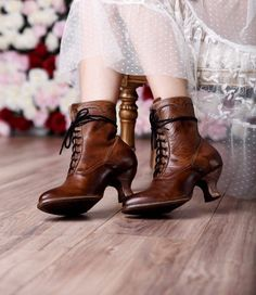 Victorian Shoes Victorian Inspired Leather Ankle Boots in Tan Rustic $255.00 AT vintagedancer.com
