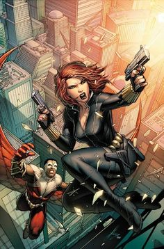 Black Widow, showing once more why you shouldn't mess with women. Artwork by Dale Keown                                                                                                                                                     More