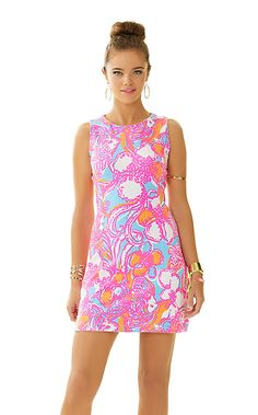 Lilly Pulitzer Whiting Cut-Out Shift Dress in Shorely Blue Feeling Tanked.