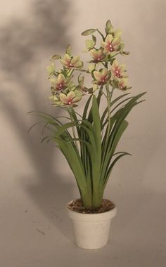 Cymbidium Double Orchid by Karl Blindheim - $139.50 : Swan House Miniatures, Artisan Miniatures for Dollhouses and Roomboxes