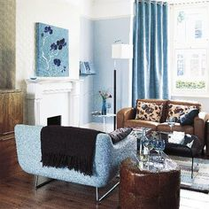 tan and teal living room | Blue living room | Living room furniture | Decorating ideas | Image ...