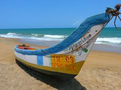 Colorful Boat on Sandy Beach Ocean Scene Postcard. Unique Postcards for Postcrossing, Scrapbooking, or just to send to a friend. What Is Green Building, Barbados Beach, Ecuador, Destinations, Ocean Scenes, Beaches In The World, Oprah Winfrey, Building Materials, Seaside