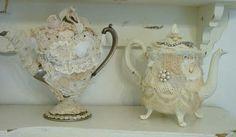 Vintage lace teapots