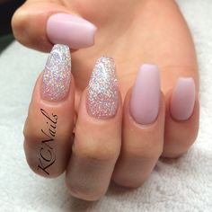 Pastel pink coffin nails with glitter pink accents KCNails