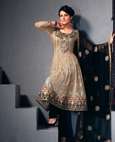 Marvelous Beige Brown Salwar Kameez http//www.gravity,fashion.com