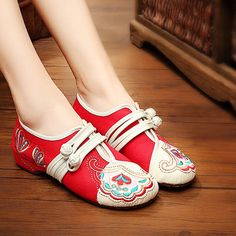 $19.89  Vintage Chinese Embroidered Flower Mary Janes Buckle Casual Flat Loafers