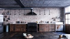 Mark Lewis Interior Design London Loft Kitchen Old Brick Salvaged Wood Marble Brass, Rory Gardiner Photo Interior Design London, Wood Interior Design, Interior Exterior, Kitchen Interior, Kitchen Design, Vintage Industrial Furniture, Industrial House, Industrial Interiors, Industrial Stairs