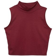 Teens Dark Red High Neck Crop Top (205 ARS) ❤ liked on Polyvore featuring tops, shirts, crop tops, tank tops, cut-out crop tops, dark red shirt, red top, high neck crop top and crop shirt