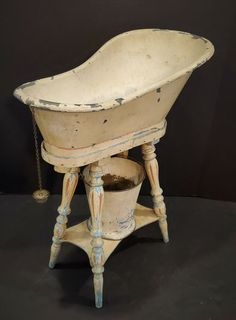 Antique Toy Tin and Wood Doll Bathtub on Stand w/ Bucket Doll Furniture, Antique Toys, Tin, Bathtub, Bucket, Dolls, Chair, Antiques, Wood