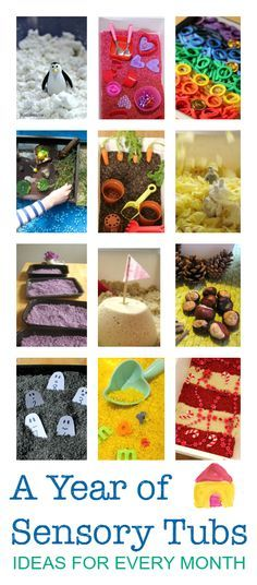 Seasonal sensory tubs for every month - great sensory play ideas, messy play activities for babies, toddlers, preschool and older. A great way for children to explore with all of their senses. Sensory Tubs, Sensory Boxes, Sensory Activities, Infant Activities, Sensory Play, Activities For Kids, Sensory Diet, Motor Activities, Toddler Play