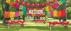 Cinco de Mayo Decorations - Giant Fiesta Decorating Kit 4pc SKU: 428723 $19.99  1 plastic bunting, 24ft 1 fringe garland, 24ft 1 pennant banner, 24ft 1 giant sign banner, 33 1/2in x 65in