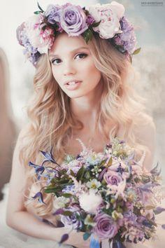 Maravillloso conjunto de flores, como tiara y bouquet..Kro. Нежный букет невесты